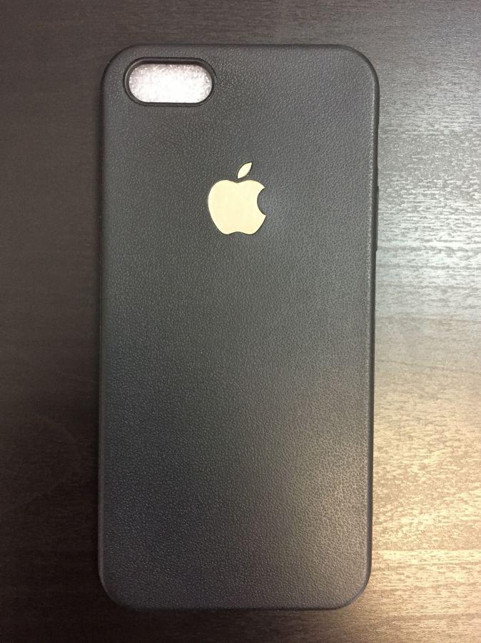 Накладка Apple iPhone 5/5S силикон (black-gold)